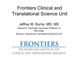 Frontiers Clinical and Translational Science Unit