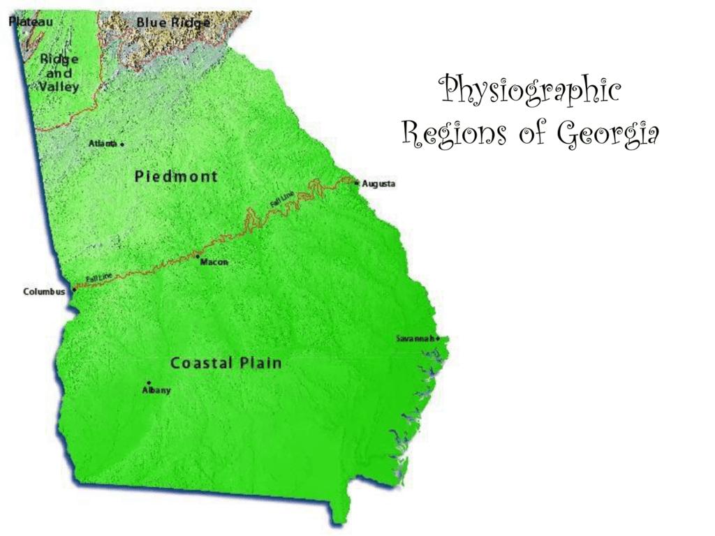 Map Of Georgia 5 Regions.Physiographic Regions Of Georgia