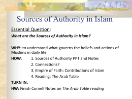 What are the Sources of Authority in Islam?