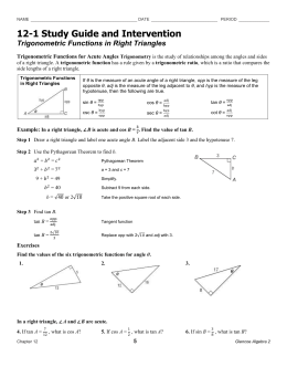 Trigonometric Functions in Right Triangles
