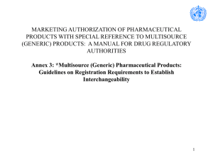 Multisource (Generic) Pharmaceutical Products