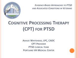 Workshop: Cognitive Processing Therapy