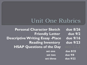 Unit One Rubrics - Greenwood School District 50