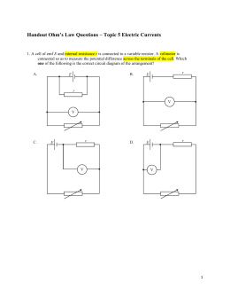 Handout Ohm's Law Questions – Topic 5 Electric