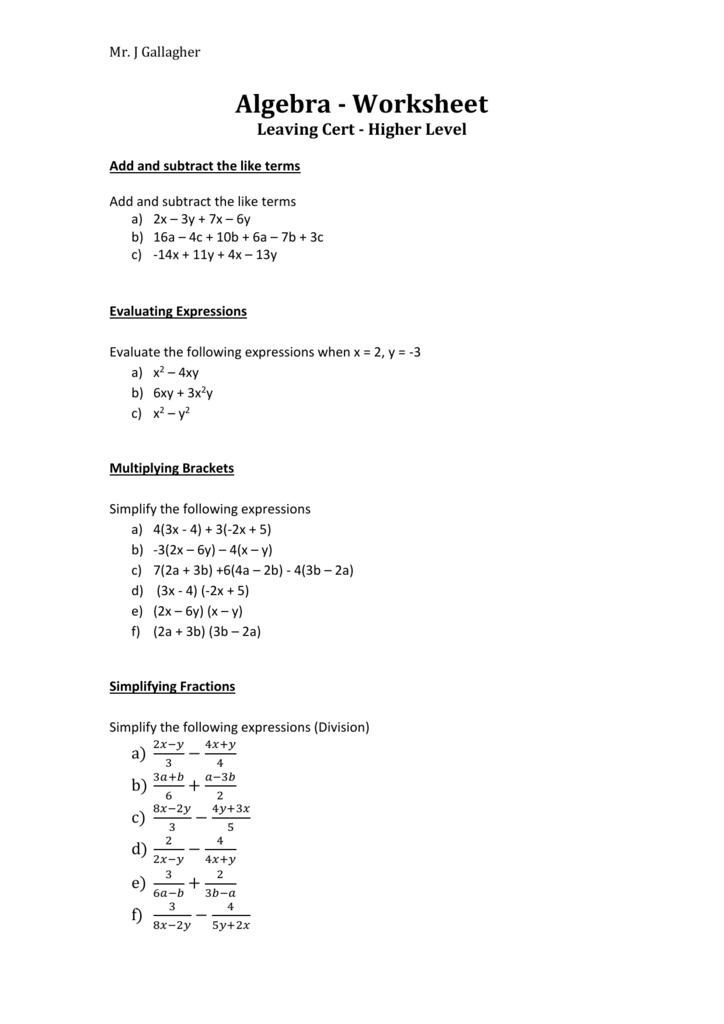 Algebra Worksheet Leaving Cert