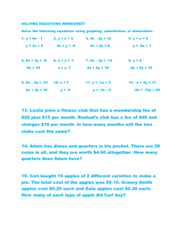 SOLVING EQUATIONS WORKSHEET Solve the following equations