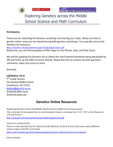 Genetics Online Resources 2012 workshops