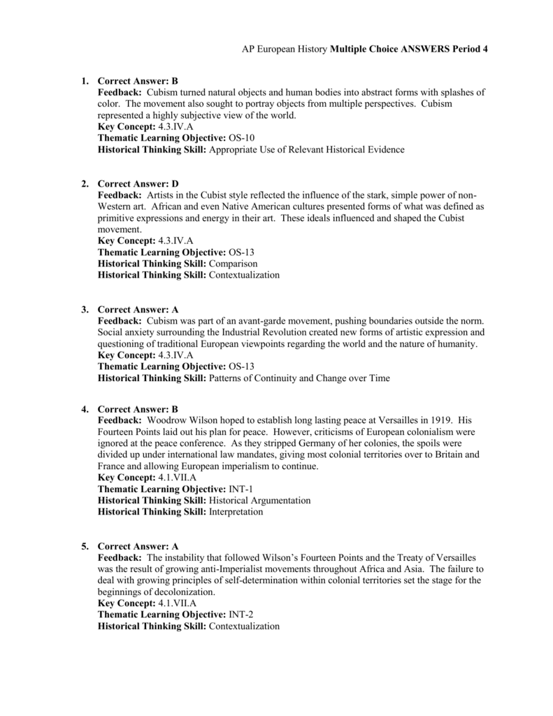 Multiple choice questions time period 4 answer key malvernweather Image collections