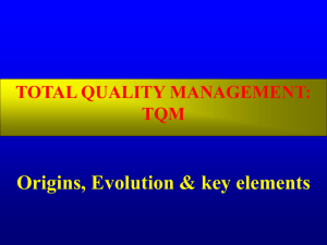 TOTAL QUALITY MANAGEMENT: TQM Origins
