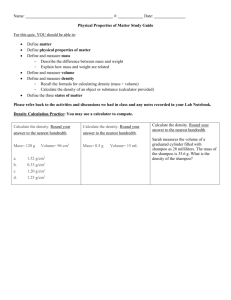 Physical Properties of Matter Study Guide