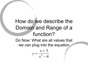 How do we describe the Domain and Range of a function?