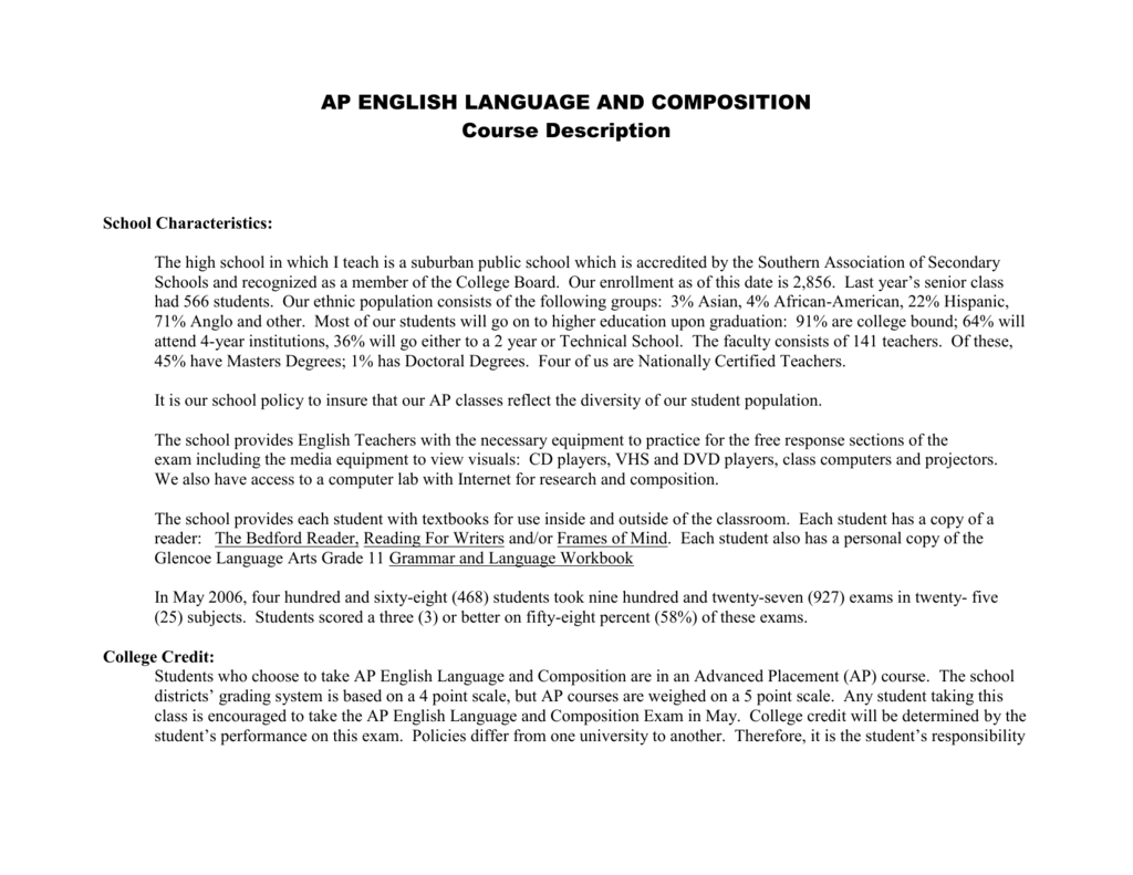 Arce's AP English Language Syllabus