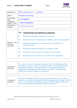 BTEC IT ~ Unit 8 Assignment 1 Brief P1 P2 P3