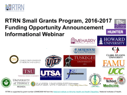 RTRN Small Grants Program, 2016