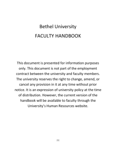 Faculty Handbook - Bethel University