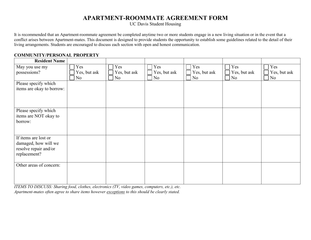 Apartment Roommate Agreement Form