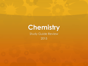Chemistry Study Guide 2015