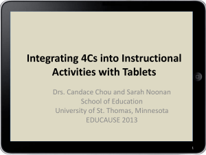 Integrating 4Cs into instructional activities with tablets