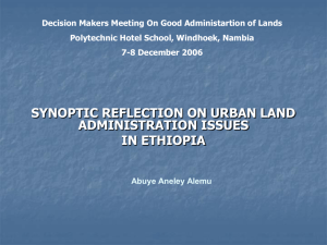 report on urban land administration and land markets