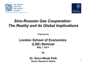 Update of Sino-Russian Gas Cooperation