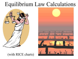 PowerPoint - Equilibrium Law Calculations - Kc, RICE