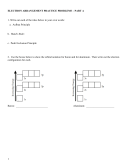 Electron Configurations Worksheet I Answers