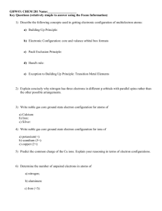 GHW#3: CHEM 281 Name: Key Questions (relatively simple to