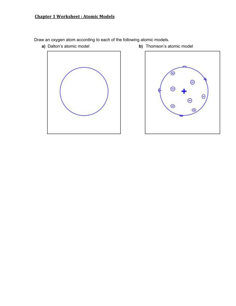 Chapter 1 Worksheet Atomic Models Draw An Oxygen Atom