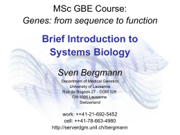 Course Module: Brief Introduction to Systems Biology Sven