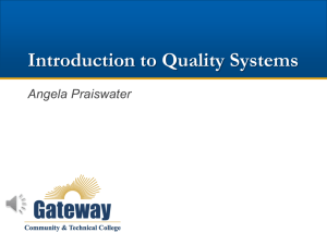 Introduction to Quality Systems