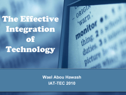 The Effective Integration of Technology