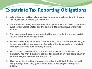 Expatriate Tax Reporting Obligations