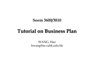 Business Plan - Department of Systems Engineering and