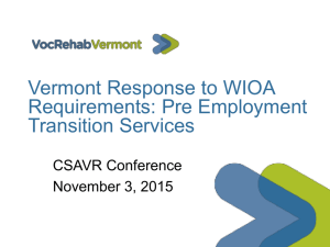 Vermont Response to WIOA Requirements