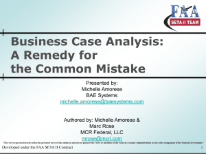 Business Case Analysis - Society of Cost Estimating and Analysis