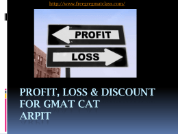Profit, Loss & Discount - FREE GRE GMAT Online Class