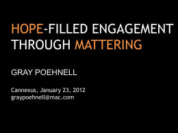 Hope-filled Engagement Through Mattering