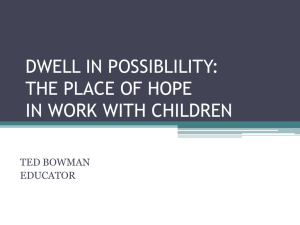 DWELL IN POSSIBLILITY: THE PLACE OF HOPE IN WORK WITH