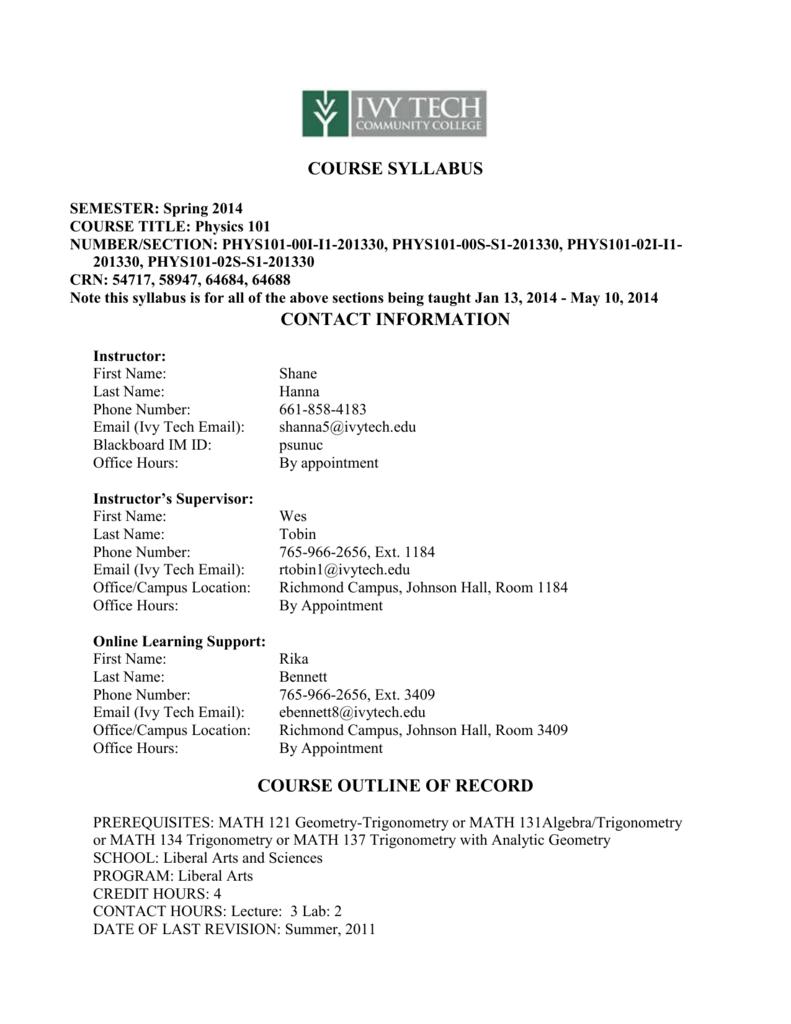 Syllabus Faculty List Ivy Tech Community College