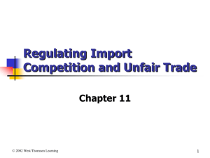Regulation of Import Competition and Unfair Trade