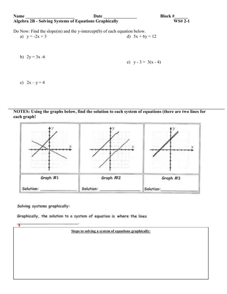 Alg 2B Unit 2 Sys of Lin Eq Worksheets – System of Equation Worksheet