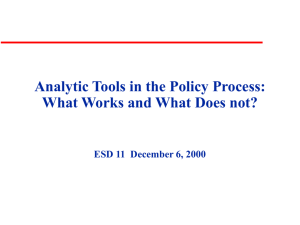 Analytic Tools in the Policy Process