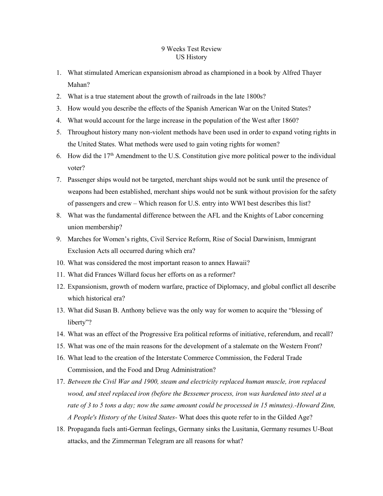 worksheet Progressive Era Worksheets workbooks progressive era worksheets free printable 9 weeks test review us history what stimulated american worksheets