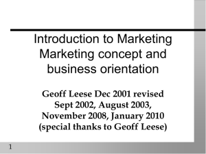 Introduction to Marketing 1 Module intro, marketing concept