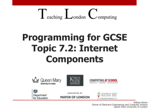 Programming for GCSE - Teaching London Computing