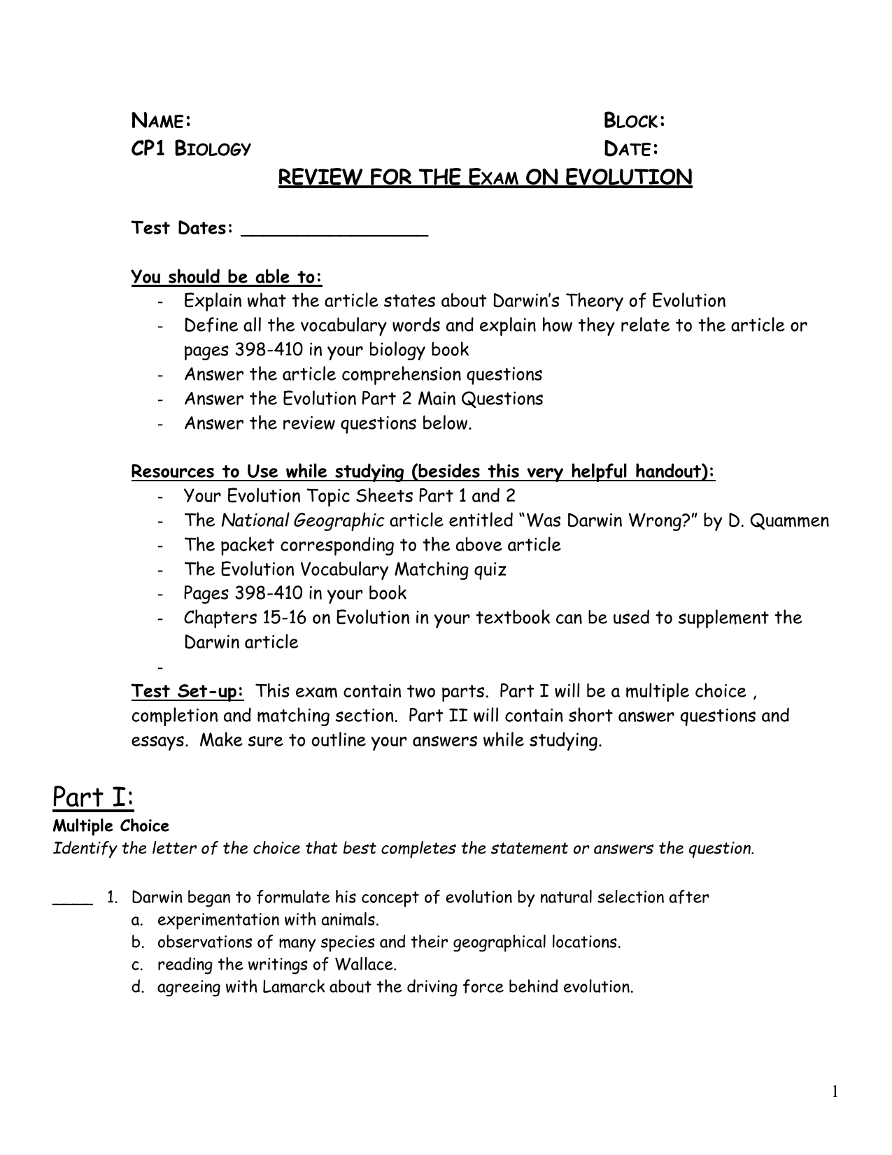 ap biology evolution essay questions and answers The biology exam content (heredity and evolution) and the remaining two questions will be on area below are free-response questions from past ap biology.