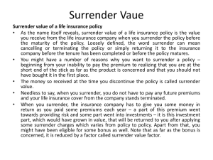 Surrender value of a life insurance policy