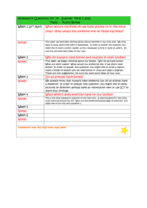 Homework Questions for Y4 : Spring Term 1 2015