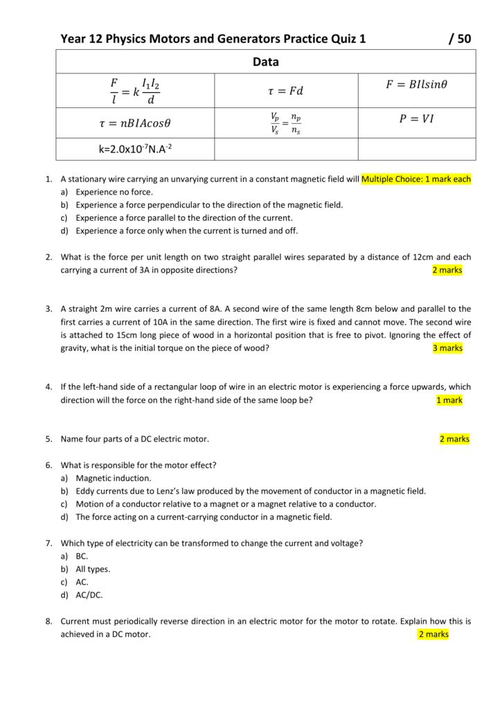 Year 12 Physics Motors and Generators Practice Quiz 1