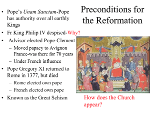 Preconditions for the Reformation